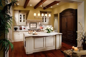 Brentwood Beaded Inset in Creme paint with Chocolate glaze; refrigerator cabinet in Java stain