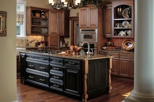 Charleston style: on Alder with Cinnamon stain and Licorice glaze; island on Maple with Burnished Ebony