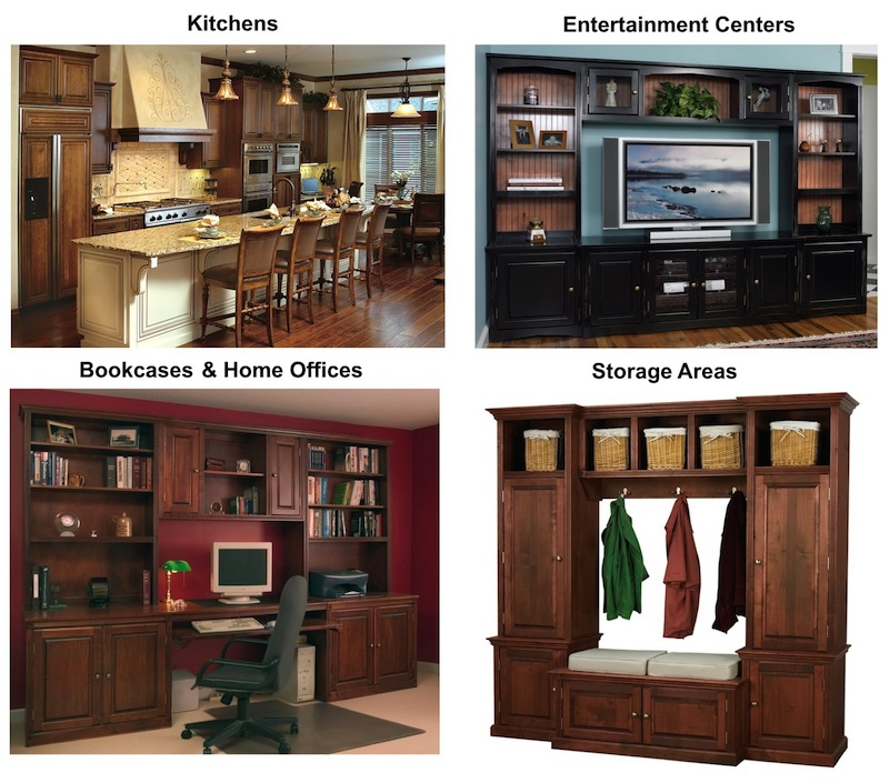 custom bookcases and unfinished cabinets