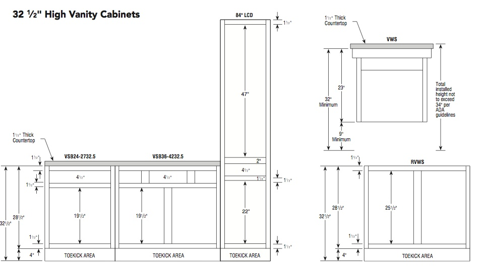 Aristokraft 32.5H vanity specifications