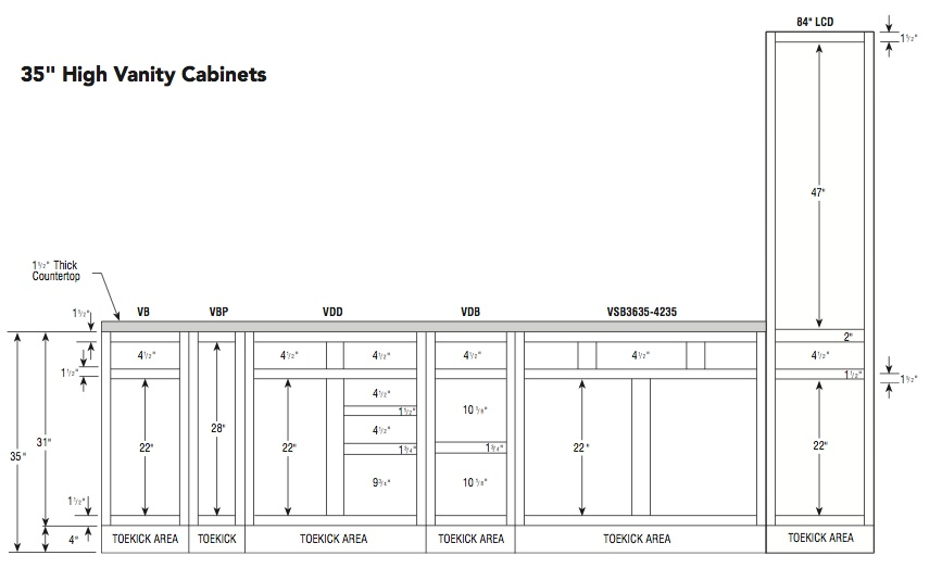 Aristokraft 35H vanity specifications