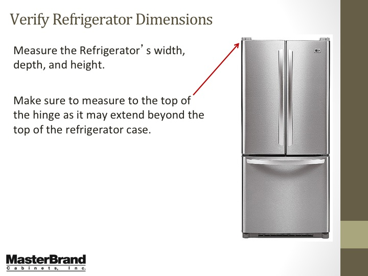 Verify refrigerator dimensions