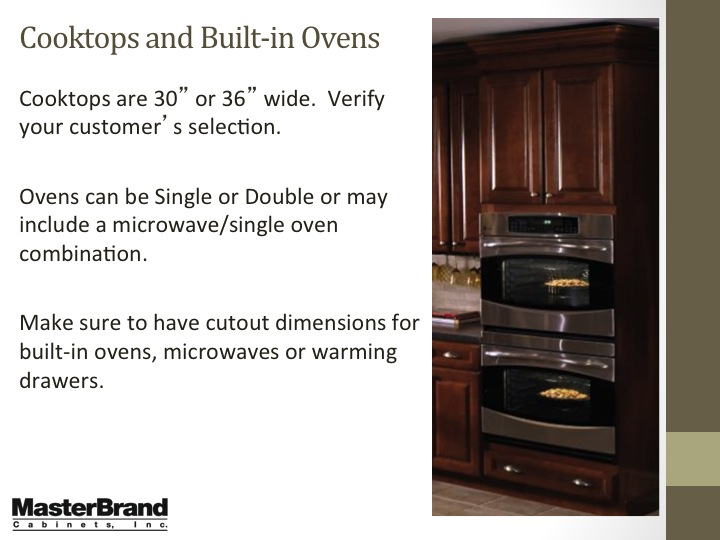 Cooktops and built-in ovens