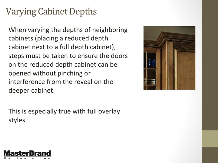Varying cabinet depths