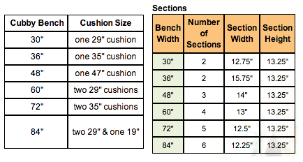 Arthur Brown Cubby Benches diagram