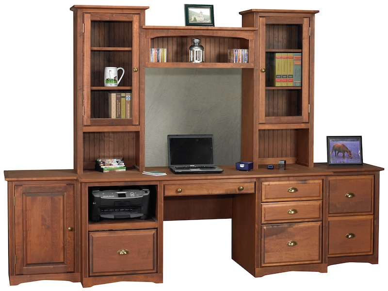 above arthur brown maple regal style file cabinets and desk top with hutches and bookcase bridge above office desk components
