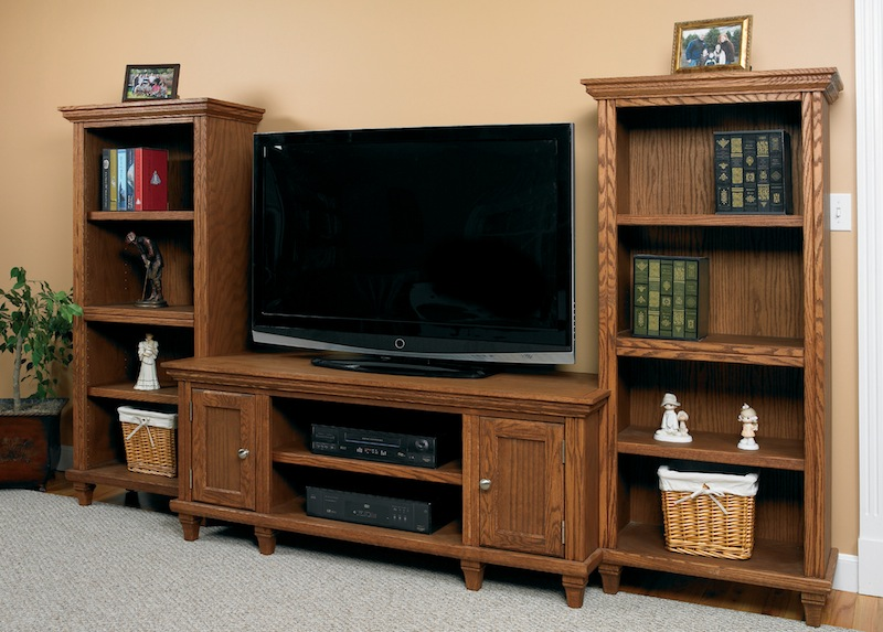 Above: Arthur Brown Oak Hampton Style Entertainment Console CN3 With  Bookcases On The Sides (Hampton Has Been Discontinued).