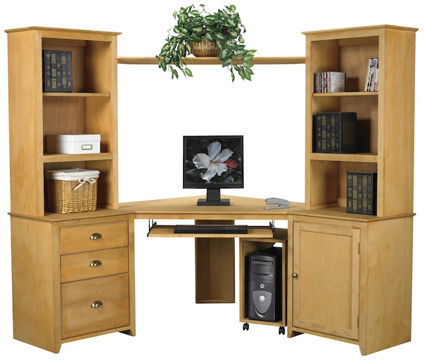 Above: Arthur Brown Maple Shaker Style File Cabinets And Corner Desk Top  With Hutches And Corner Bridge Above. Arthur Brown Desk Components