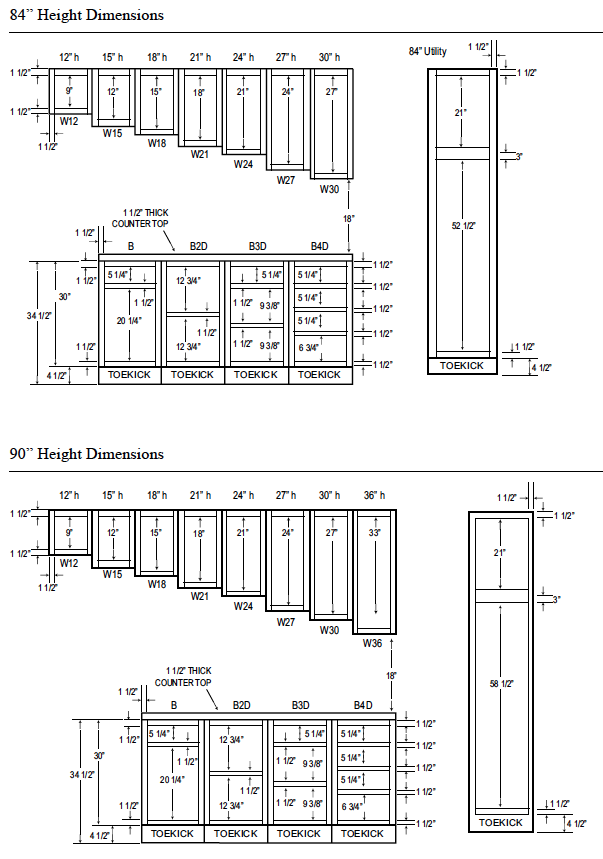 Woodcraft custom kitchen cabinet measurements for Kitchen cabinets height