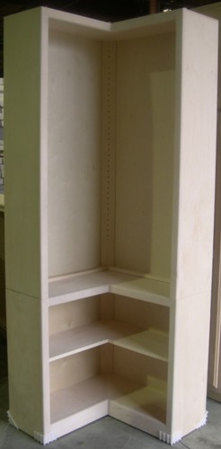 L-Shaped Contemporary bookcase base with hutch