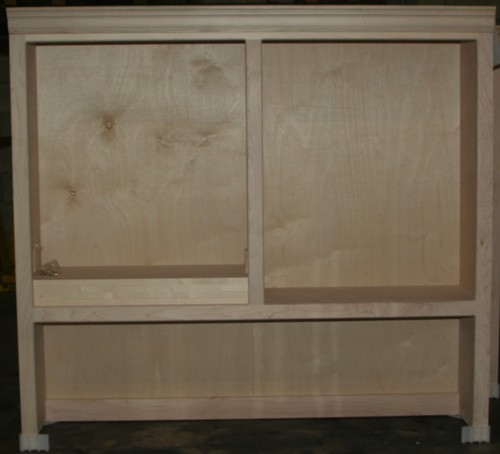 Traditional bookcase hutch with flush sides and center divider