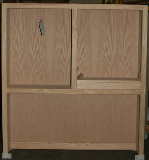 Contemporary bookcase hutch with center divider