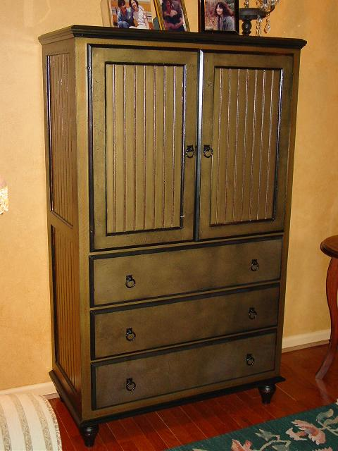 faux finish and new hardware on WCP1E0502, Armoire, 3-Drawer, 2-Door