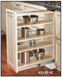 "Kitchen Base Filler Organizer, 9""W x 30""H x 23""D with Full-Extension Slides and Adjustable Shelves"