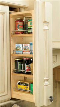 "Kitchen Wall Filler Organizer, 3""W x 42""H x 11-1/8""D, with Adjustable Shelves"