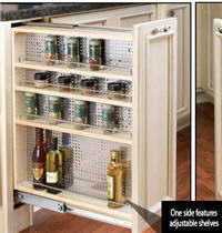 "Kitchen Base Filler Organizer, 9""W x 30""H x 23""D with Full-Extension Slides, Adjustable Shelves and Stainless Steel Panel"