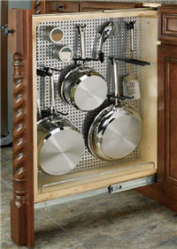 "Kitchen Base Filler Organizer, 3""W x 30""H x 23""D with Full-Extension Slides and Stainless Steel Panel"