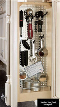 "Kitchen Wall Filler Organizer, 3""W x 30""H x 11-1/8""D, with Stainless Steel Panel"