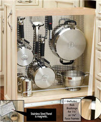 "Kitchen Base Pull-Out Organizer, 8""W x 25-1/2""H x 22-1/2""D, with Full-Extension Slides and Stainless Steel Panel"