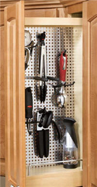 "Kitchen Wall Pull-Out Organizer, 5""W x 27-7/8""H x 10-3/4""D, with Stainless Steel Panel"