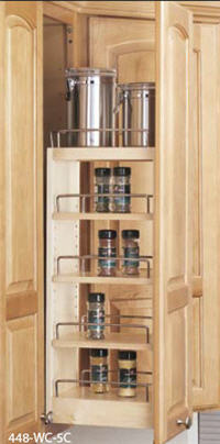 "Kitchen Wall Pull-Out Organizer, 5""W x 26-1/4""H x 10-3/4""D, with Adjustable Shelves"