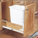 Trash Bin, Single 35-Quart Pull-Out with Full-Extension Slides and Built-in Door Mount (White Bin & Wood)