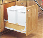 Trash Bin, Double 35-Quart Pull-Out with Full-Extension Slides and Built-in Door Mount (White Bin & Wood)