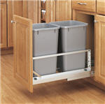 Trash Bin, Double 27-Quart Pull-Out with Soft-Closing Slides and Built-in Door Mount (Metallic Silver Polymer)