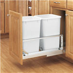 Trash Bin, Double 27-Quart Pull-Out with Soft-Closing Slides and Built-in Door Mount (White)