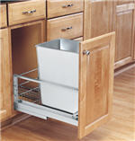 Trash Bin, Single 32-Quart Pull-Out with Soft-Closing Slides and Built-in Door Mount (Stainless Steel)