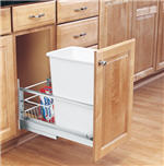 Trash Bin, Single 35-Quart Pull-Out with Soft-Closing Slides and Built-in Door Mount (White)