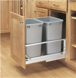 Trash Bin, Double 35-Quart Pull-Out with Soft-Closing Slides and Built-in Door Mount (Metallic Silver Polymer)