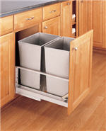 Trash Bin, Double 32-Quart Pull-Out with Soft-Closing Slides and Built-in Door Mount (Stainless Steel)