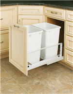 Trash Bin, Double 35-Quart Pull-Out with Soft-Closing Slides and Built-in Door Mount (White)