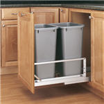 Trash Bin, Double 50-Quart Pull-Out with Soft-Closing Slides and Built-in Door Mount (Metallic Silver Polymer)