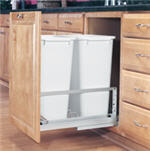 Trash Bin, Double 50-Quart Pull-Out with Soft-Closing Slides and Built-in Door Mount (White)
