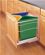 Waste Recycling Center, Quadruple 25-Quart Pull-Out with Soft-Closing Slides (Green, Blue & Yellow)