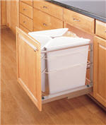 Waste Recycling Center, Quadruple 25-Quart Pull-Out with Soft-Closing Slides (White)