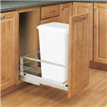 Trash Bin, Single 50-Quart Pull-Out with Soft-Closing Slides and Built-in Door Mount (White)