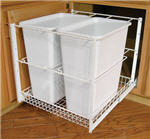 Trash Bin, Double 30-Quart Pull-Out with Full-Extension Slides (White)