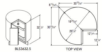 "BASE LAZY SUSAN CABINET 32.5 (36""W x 32.5""H x 23.75""D)"