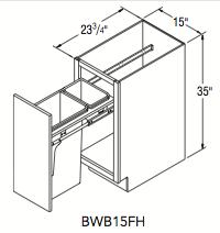 Aristokraft Wood Base Wastebasket Full Height 15 Quot W X 35 Quot H