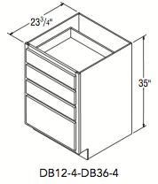 """DRAWER BASE W/4 DRAWERS (12""""W x 35""""H x 23.75""""D)"""