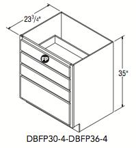 """DRAWER BASE 4DRW W/FALSE PANEL (30""""W x 32.5""""H x 23.75""""D)"""