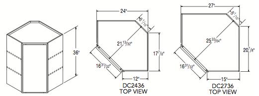 "DIAGONAL CORNER WALL (24""W x 36""H x 12""D)"