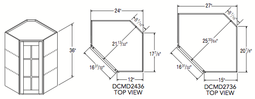 "DIAGONAL CORNER W/MULL DOOR (24""W x 36""H x 12""D)"