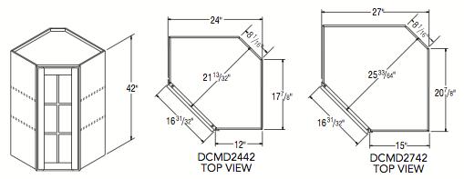 "DIAGONAL CORNER W/MULL DOOR (24""W x 42""H x 12""D)"