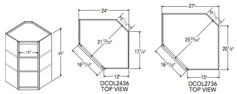 """DIAGONAL WOL CABINET (24""""W x 36""""H x 12""""D)"""