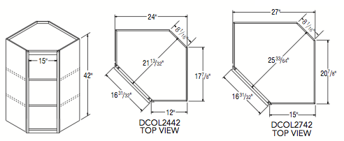 """DIAGONAL WOL CABINET (24""""W x 42""""H x 12""""D)"""
