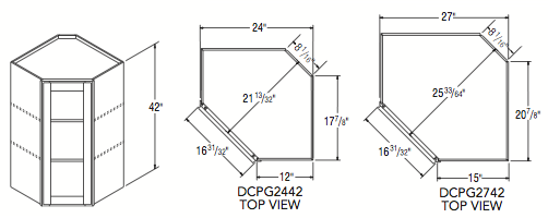"""DIAGONAL CORNER PREP/GLASS (24""""W x 42""""H x 12""""D)"""